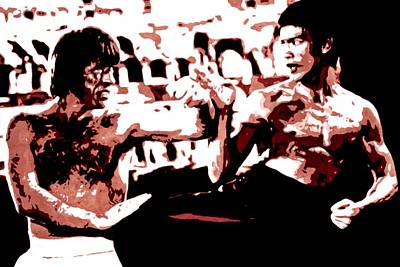 Bruce Lee And Chuck Norris Movie Scene Colosseum Portrait Painting Malerei Cadre Dipinto Marco Original