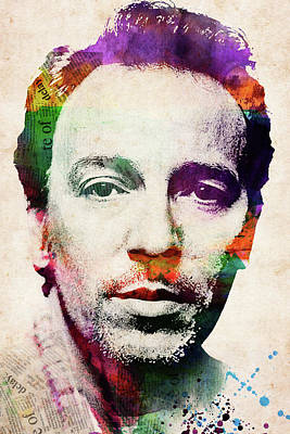 Digital Art Rights Managed Images - Bruce Springsteen watercolor portrait Royalty-Free Image by Mihaela Pater
