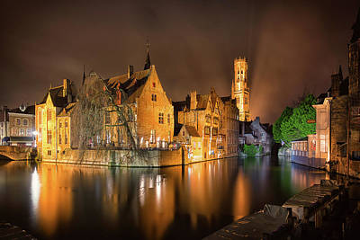 Photograph - Brugge Belgium Belfry Night by Nathan Bush