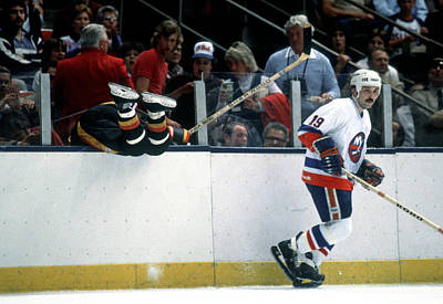 Photograph - Bryan Trottier Sends A Canuck Through by B Bennett