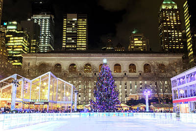 Photograph - Bryant Park Christmas Skating Rink by John Rizzuto