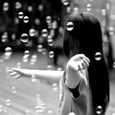 Hand Photograph - Bubbles Around Girl by Ray Sandusky / Brentwood, Tn