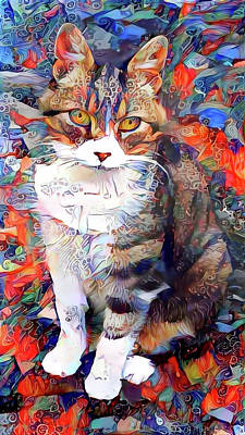 Mixed Media - Bubbles The Beloved Tabby Cat by Peggy Collins