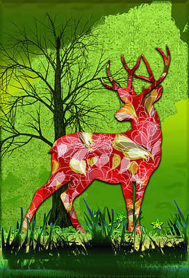 Digital Art - Buck Deer by Carlos Diaz