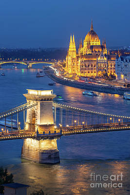 Parliament Wall Art - Photograph - Budapest At Night by Delphimages Photo Creations