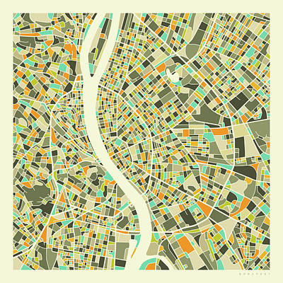 Colorful Digital Art - Budapest Map 1 by Jazzberry Blue