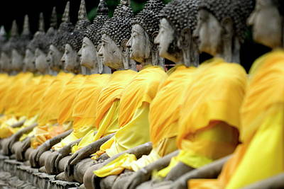 Photograph - Buddha Statues, Ayuthaya, Thailand by Rod Porteous / Robertharding