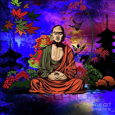 Digital Art - Buddhist Monk. by Andrzej Szczerski