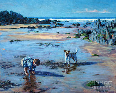 Dog On Beach Wall Art - Painting - Buddies On The Beach by Tilly Willis