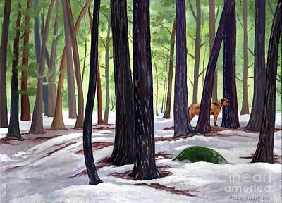 Wall Art - Painting - Buddy's Winter World by Arlene Kelley