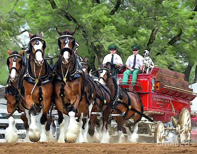 Digital Art - Budweiser Clydesdales Hitch by CAC Graphics