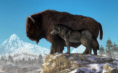 Digital Art - Buffalo And Wolf by Daniel Eskridge