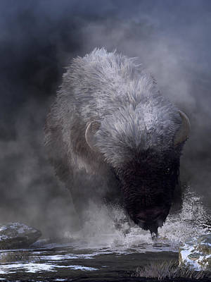 Digital Art - Buffalo Charging Through Snow by Daniel Eskridge