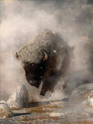 Digital Art - Buffalo In A Blizzard by Daniel Eskridge