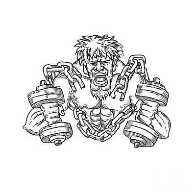 Personalized Name License Plates - Buffed Athlete Dumbbells Breaking Free From Chains Drawing by Aloysius Patrimonio