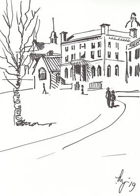 Drawing - Buildings At Edge Of Exeter Cathedral Green Drawing by Mike Jory