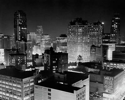 Photograph - Buildings Lit Up At Night, Detroit by Superstock