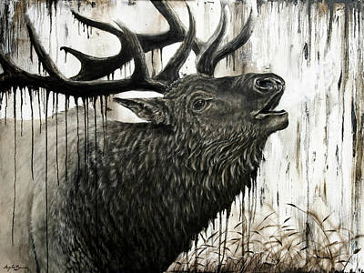 Bull Elk Painting By Angela Bawden Original