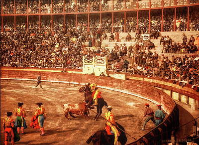 Photograph - Bullfight - Remastered by Carlos Diaz
