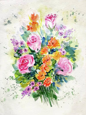 Painting - Bunch Of Flowers by Asha Sudhaker Shenoy