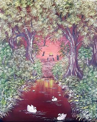 Bob Ross Painting - Bunnies Welcome At The Camp Fire by Angela Whitehouse