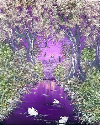 Bob Ross Painting - Bunnies Welcome At The Camp Fire In Purple  by Angela Whitehouse