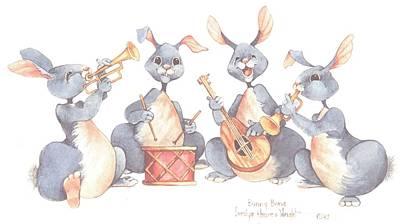 Wall Art - Painting - Bunny Band by Carolyn Shores Wright