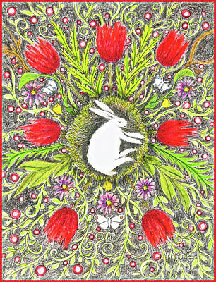 Bunny Nest With Red Flowers And White Butterflies Art Print