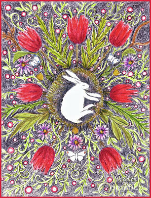 Mixed Media - Bunny Nest With Red Flowers Variation by Lise Winne