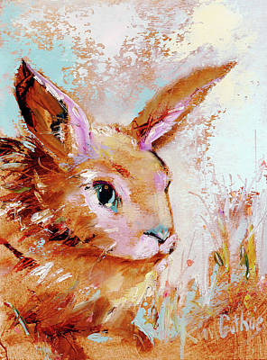 Wall Art - Painting - Bunny Rabbit Sees His Shadow by Kim Guthrie