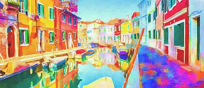 Mixed Media Royalty Free Images - Burano Venice Royalty-Free Image by David Ridley