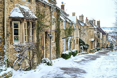 Photograph - Burford Hill Cottages In December by Tim Gainey