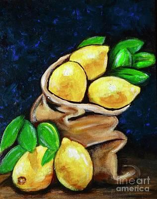 Painting - Burlap Bag Of Lemons by Jacqueline Athmann
