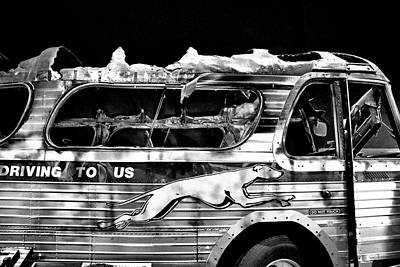 Photograph - Burned Out Freedom Ride Bus by Allen Beatty