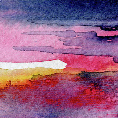 Music Paintings - Burning - Abstract Watercolor Painting by Susan Porter