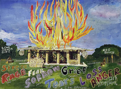 Kitchen Signs - Burning of Temple of Time by Donna Walsh