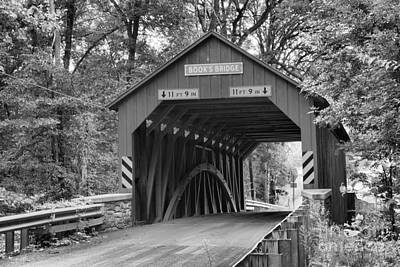 Photograph - Burr Truss Books Covere Bridge Black And White by Adam Jewell