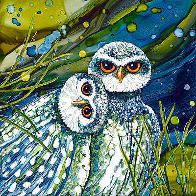 Painting - Burrowing Owls by Karen Wysopal