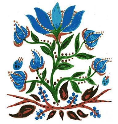 Drawing - Burst Of Blue Flowers by Anthony Mrugacz