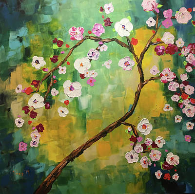 Texture Painting - Burst Of Color Blossoms by Roxy Rich