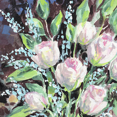 Painting - Burst Of Roses Flowers Bouquet Floral Impressionism  by Irina Sztukowski