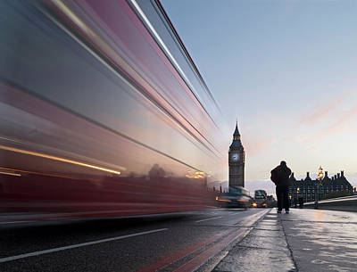 Break Of Day Photograph - Bus Crossing Westminster Bridge In by Daniel Sambraus / Stock4b