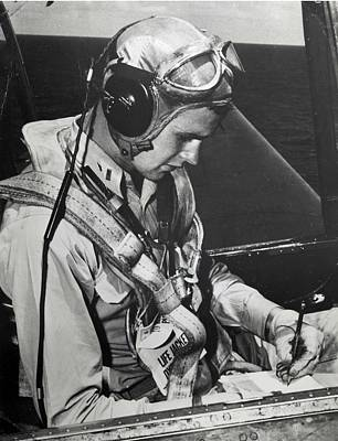 Painting - Bush In His Grumman Tbm Avenger Aboard Uss San Jacinto In 1944 by Celestial Images
