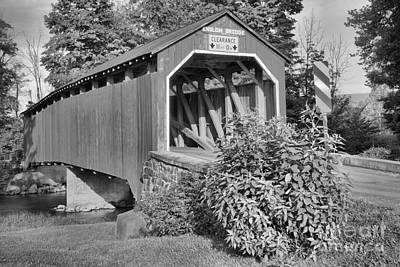 Photograph - Bushes By The Enslow Covered Bridge Black And White by Adam Jewell