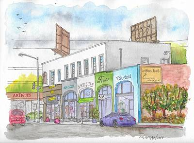Painting - Business Stores In Larchmont And Melrose Ave., Hollywood, California by Carlos G Groppa