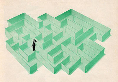 Fashion Digital Art - Businessman Trapped In Maze by Graphicaartis