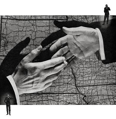 Businessmen Shaking Hands Art Print by Graphicaartis