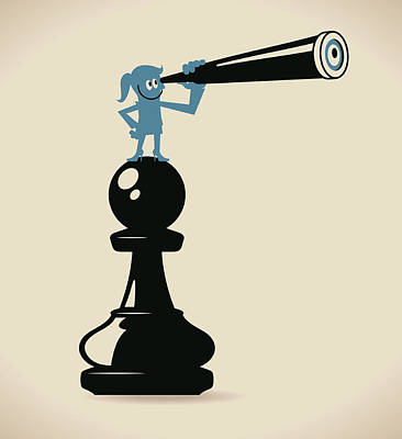 Businesswoman Standing On A Pawn Chess Art Print by Alashi