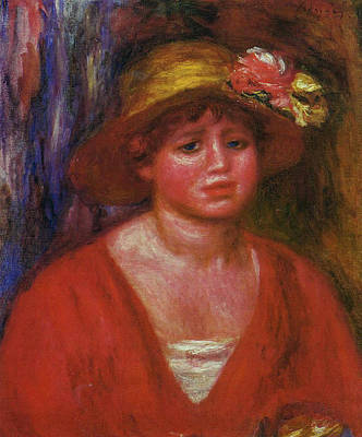Christmas Christopher And Amanda Elwell Rights Managed Images - Bust of a Young Woman in a Red Blouse 1915 Royalty-Free Image by Pierre Auguste Renoir