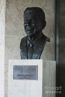 Photograph - Bust Of Ronald Reagan Outside Of Library by Colleen Cornelius